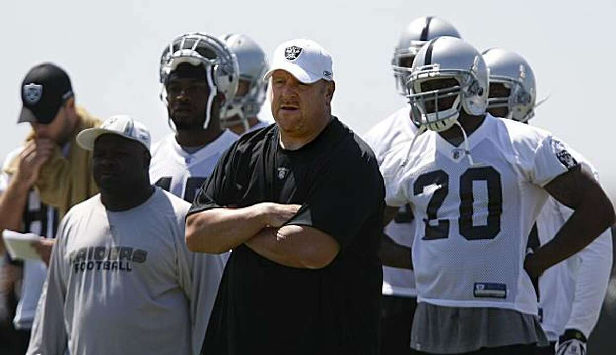Head coach Tom Cable during practice as the Oakland Raiders hold their second day of mini-camp in Oakland, Calif. on Saturday May 9, 2009.