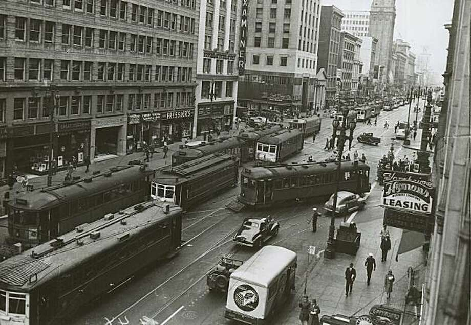 "The ""Roar of the Four"" as evidenced in this view of Market Street at Geary in the mid-1940's.  1940. Photo: The Chronicle, File Photo, 1940"