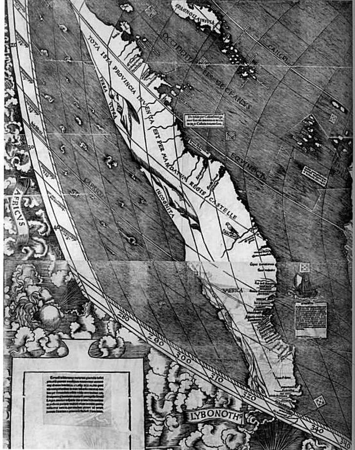 South America on the Waldseemüller map of 1507 the first map to identify any part of the New World as America– a name coined by the map's makers. Photo: Courtesy, The Free Press