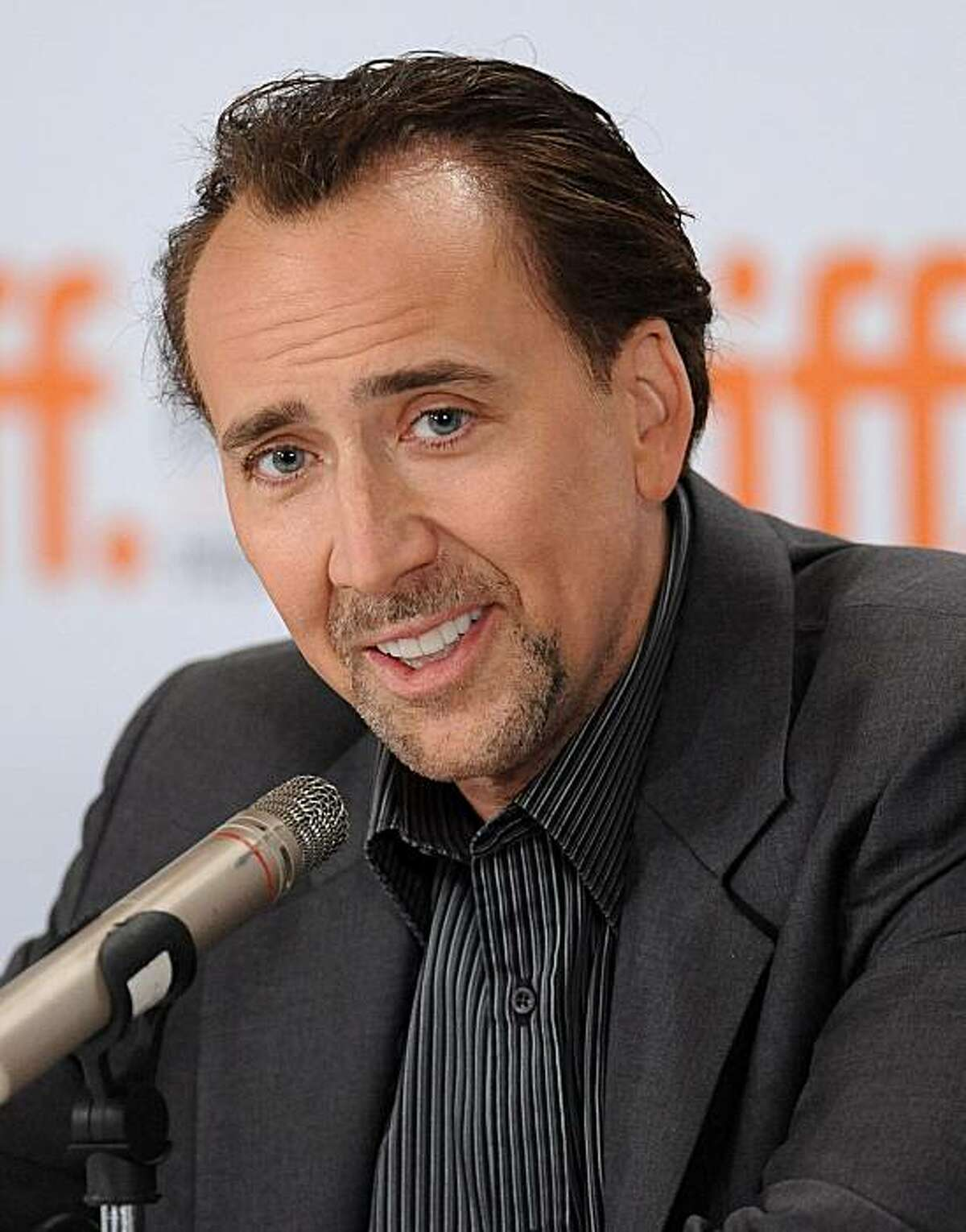 """FILE - In this Sept. 15, 2009 file photo actor Nicolas Cage participates in the press conference for '""""Bad Lieutenant: Port Of Call New Orleans"""" during the Toronto International Film Festival in Toronto."""