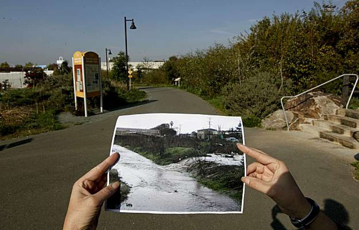 A picture of what the area looked like before, Gateway Park on Baxter Creek, is now a completed restoration project that the City of El Cerrito, which runs through the heart of the downtown.