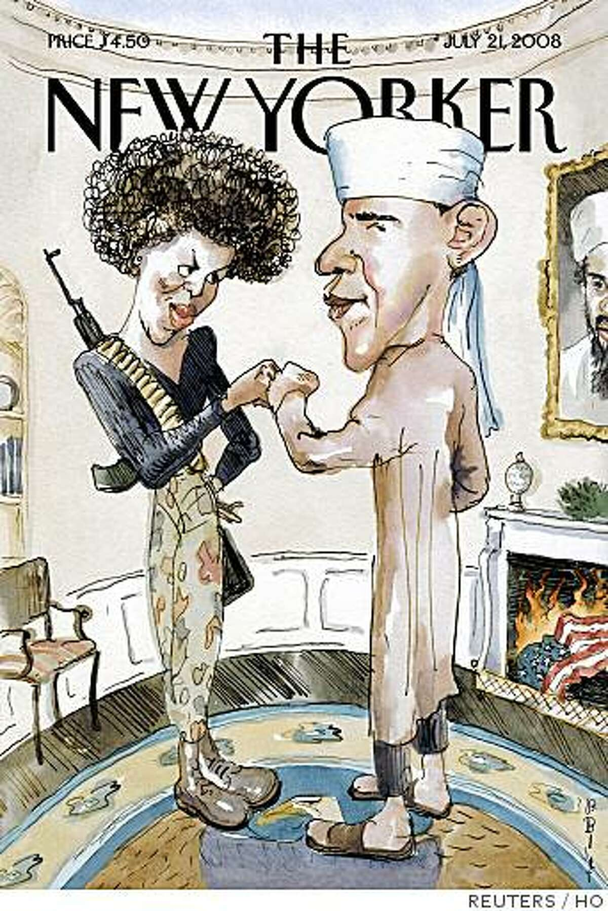The cover of the July 21, 2008 issue of The New Yorker magazine entitled �The Politics of Fear,� by artist Barry Blitt featuring Barack Obama and his wife Michelle, is shown in this undated publicity photograph. According to the New Yorker, the cover satirizes the use of scare tactics and misinformation in the Presidential election to derail Barack Obama�s campaign. REUTERS/Courtesty of New Yorker Magazine/Handout (UNITED STATES). NO SALES. NO ARCHIVES. FOR EDITORIAL USE ONLY. NOT FOR SALE FOR MARKETING OR ADVERTISING CAMPAIGNS.