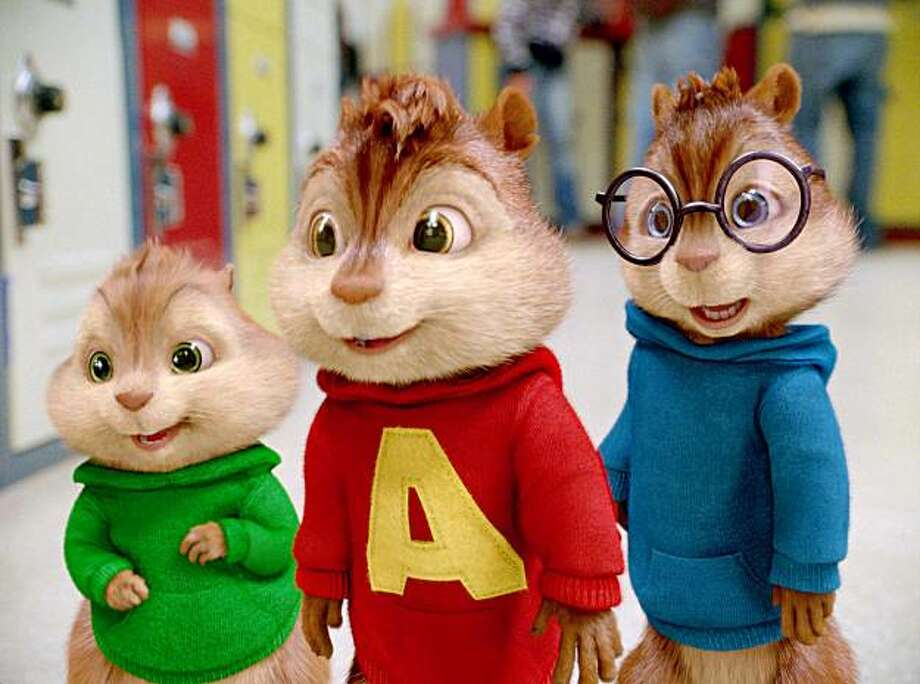 "In this film publicity image released by 20th Century Fox, chipmunks Theodore, left, Alvin, center, and Simon arrive for their first day in school in a scene from, "" Alvin and the Chipmunks: The Sqeakuel"". (AP Photo/20th Century Fox) Photo: AP"