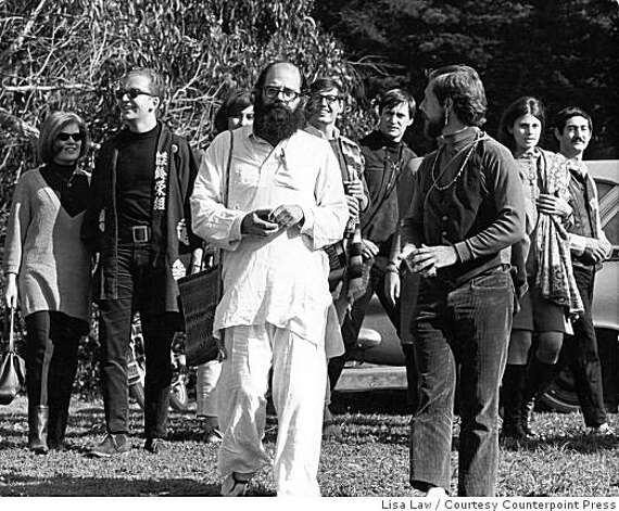 "Allen Ginsberg and Gary Snyder at the ""Human Be-In"" at Golden Gate Park, San Francisco, January 14, 1967. Photo: Lisa Law, Courtesy Counterpoint Press"