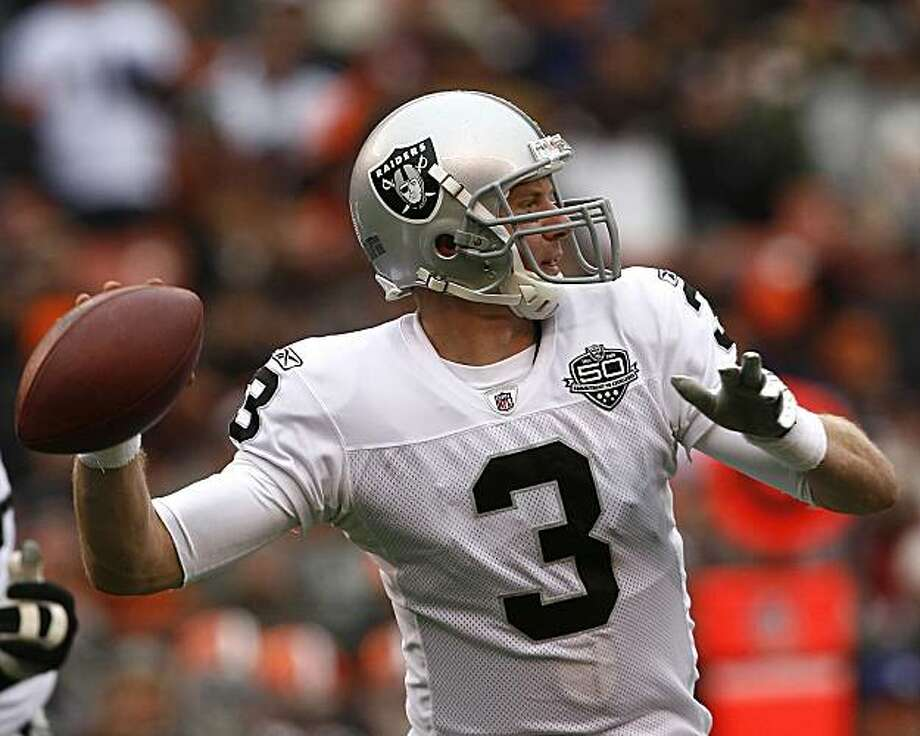 CLEVELAND - DECEMBER 27:  Charlie Frye #3 of the Oakland Raiders looks for a receiver against the Cleveland Browns at Cleveland Browns Stadium on December 27, 2009 in Cleveland, Ohio.  (Photo by Matt Sullivan/Getty Images) Photo: Matt Sullivan, Getty Images
