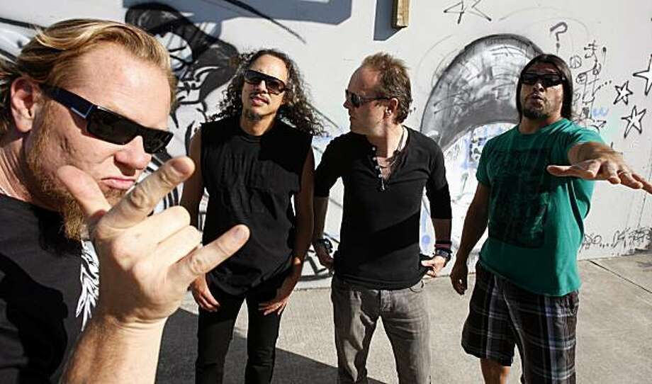"""James Hetfield , Kirk Hammett, Lars Ulrich and Robert Trujillo of """"Metaillica"""" at their HQ. The band is coming out with its 10th album. Photo: Kurt Rogers, The Chronicle"""