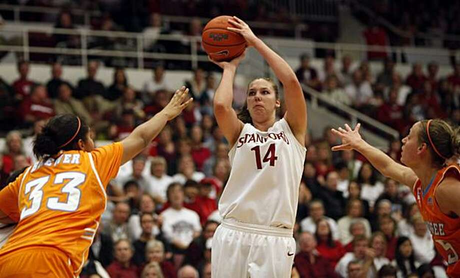 Stanford's Kayla Pedersen shoots over a Tennessee defender in the second period Saturday. Photo: Lance Iversen, The Chronicle