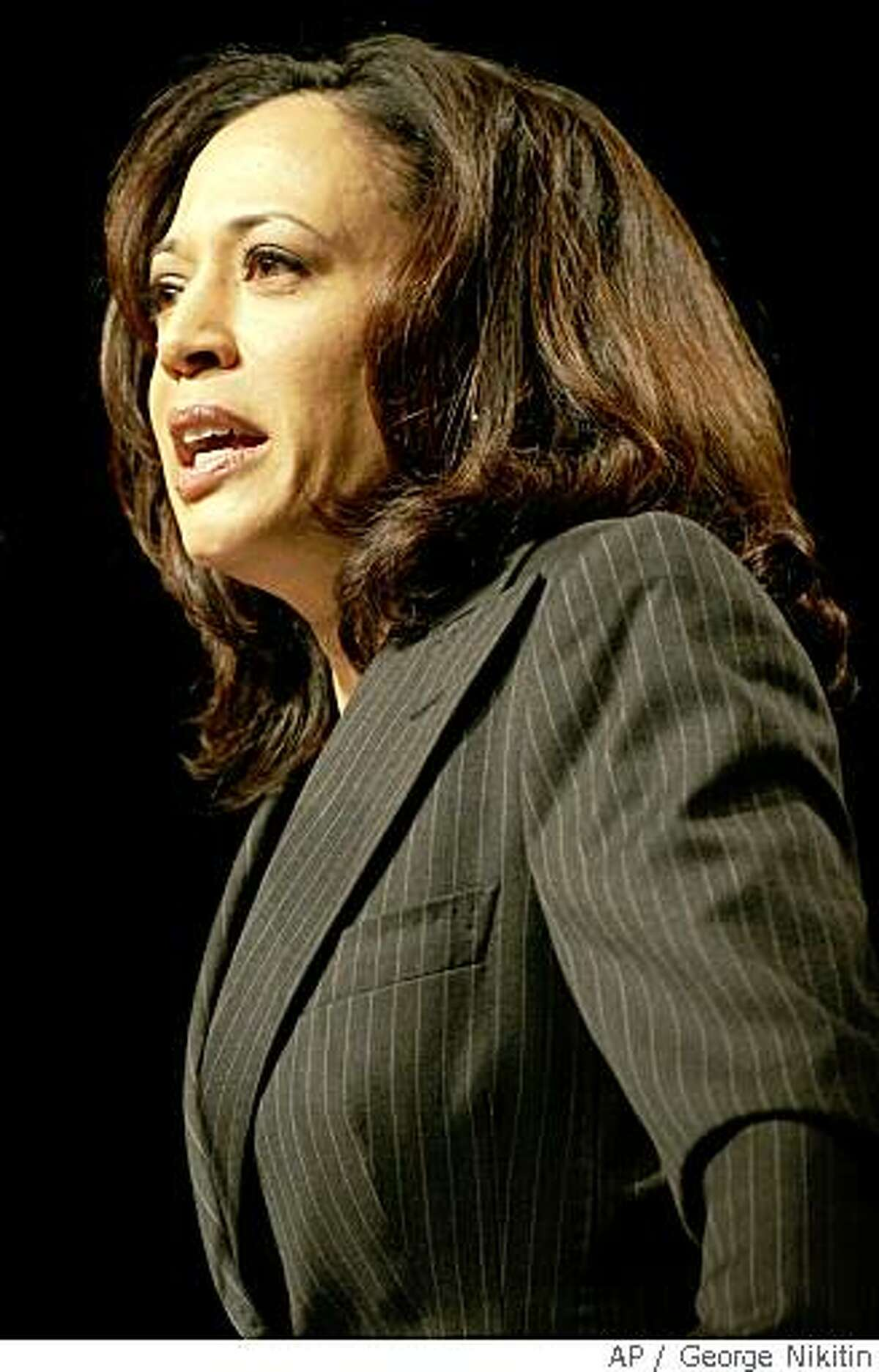 San Francisco District Attorney, Kamala Harris speaks in support of Democratic presidential hopeful Sen. Barack Obama, D-Ill., at the California Democratic Convention, Sunday, March 30, 2008 in San Jose, Calif. (AP Photo/George Nikitin)