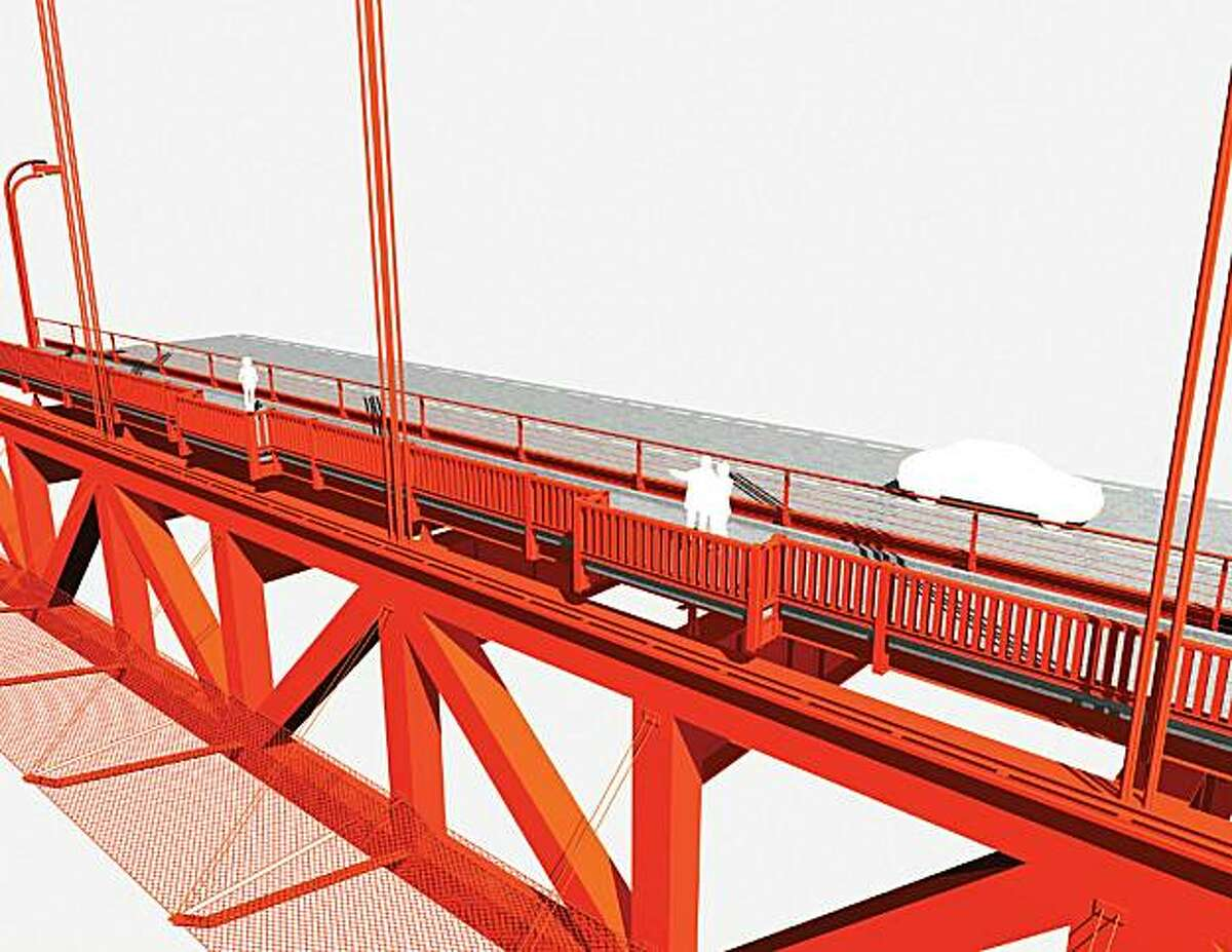 This rendering, provided by the Golden Gate Bridge District, shows how the proposed suicide barrier -- a net beneath the east side of the span -- approved by district directors Friday would look.