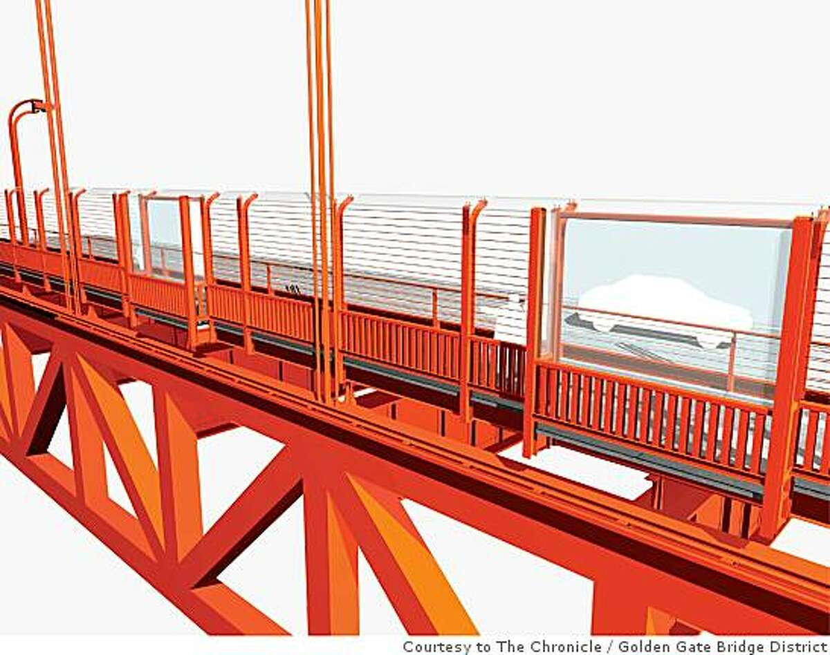 This rendering shows an exterior east side view of one of the five potential suicide barriers being considered for the Golden Gate Bridge. This option shows a horizontal barrier added to the outside handrail. Golden Gate Bridge District / Courtesy to The Chronicle