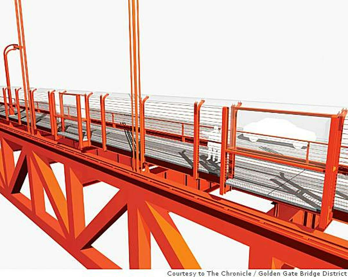This rendering shows an exterior east side view of one of the five potential suicide barriers being considered for the Golden Gate Bridge. This option shows a horizontal barrier that would replace the outside handrail. Golden Gate Bridge District / Courtesy to The Chronicle