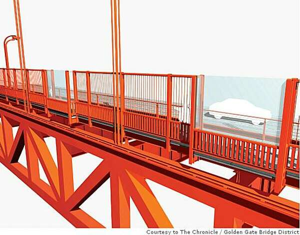 This rendering shows an exterior east side view of one of the five potential suicide barriers being considered for the Golden Gate Bridge. This option shows a vertical barrier added to the outside handrail. Golden Gate Bridge District / Courtesy to The Chronicle Photo: Golden Gate Bridge District, Courtesy To The Chronicle