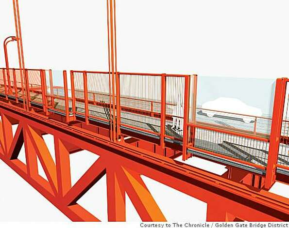 This rendering shows an exterior east side view of one of the five potential suicide barriers being considered for the Golden Gate Bridge. This option shows a vertical barrier that would replace the outside handrail. Golden Gate Bridge District / Courtesy to The Chronicle Photo: Golden Gate Bridge District, Courtesy To The Chronicle