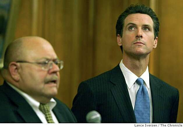 Mayor Gavin Newsom, right, listens as head of juvenile probation Bill Siffermann address the media at a press conference in the mayor's outer chambers at City Hall Tuesday July 1, 2008 in San Francisco Calif.Photo by Lance Iversen / The Chronicle Photo: Lance Iversen, The Chronicle