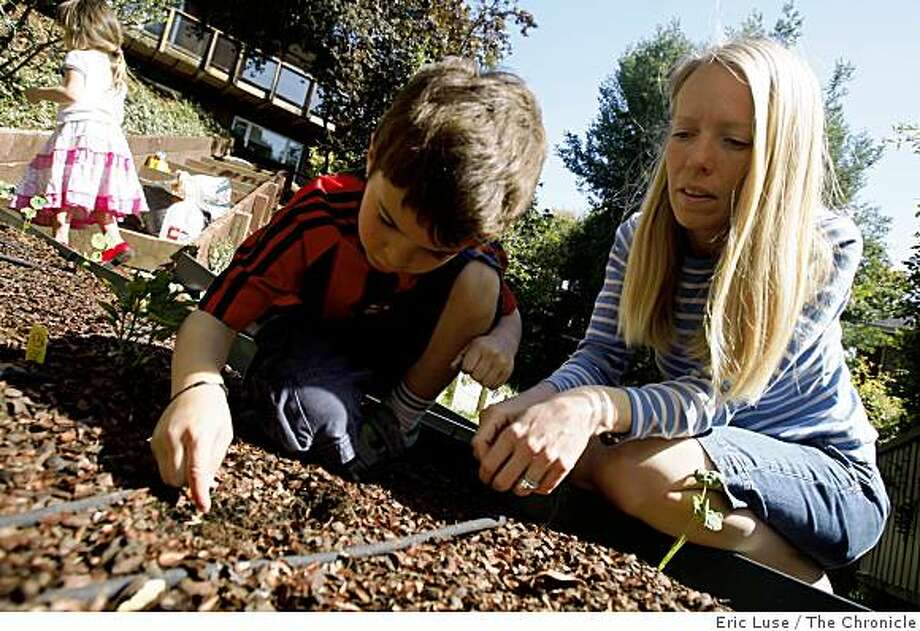 Elizabeth Singh plants seeds with her son Arjun,6, with  Soraya,3, in the background in the family garden at their home  photographed  in San Anselmo on Monday, May 11, 2009. Photo: Eric Luse, The Chronicle