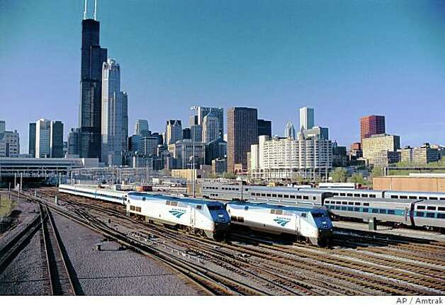 Trains leaving Chicago terminal. Photo: Amtrak, AP