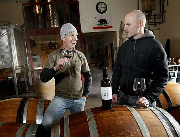 Meyers (left) and Roberts share a wine facility with another winemaker. Duncan Arnot Meyers and Nathan Lee Roberts of Arnot-Roberts in Forestville have been friends since childhood. Photo: Brant Ward, The Chronicle