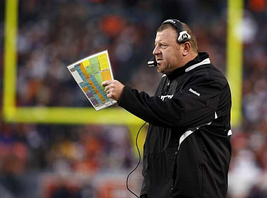 Oakland Raiders head coach Tom Cable directs his team against the Denver Broncos in the third quarter in Denver on Sunday. Photo: David Zalubowski, AP