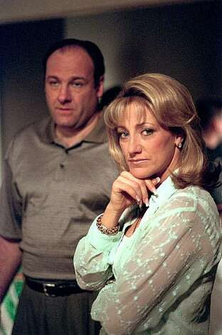 "FILE--James Gandolfini and Edie Falco of the HBO drama series ""The Sopranos,"" are shown in this undated file photo. The television show received 18 Emmy nominations in Los Angeles, Thursday morning Juny, 20, 2000.  Gandolfini and Falco received best actor/actress in a drama series nominations. (AP Photo/Anthony Neste, File) ALSO Ran on: 02-19-2006 Joe Brown, Sunday Datebook Editor Photo: Anthony Neste, File, AP"