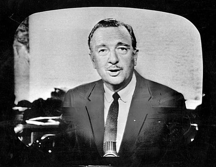 Walter Cronkite as most Americans got to know him, on television, in 1964. Cronkite, an iconic CBS News journalist who defined the role of anchorman for a generation of television viewers, died Friday, July 17, 2009,  at the age of 92, his family said. (The New York Times) Photo: Courtesy, NYT