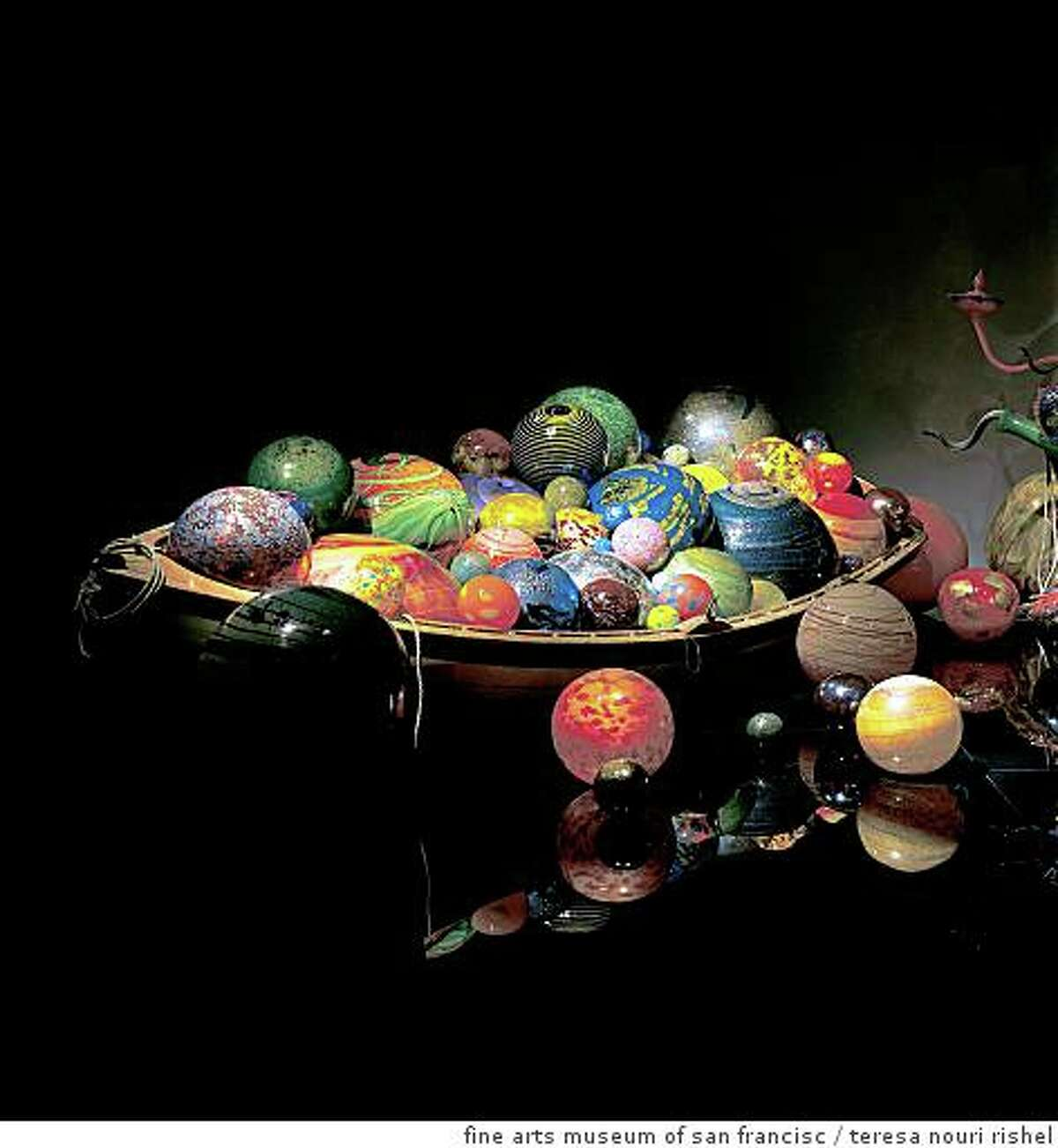 """""""Float Boat"""" (TK) blown glass and wooden boat by Dale Chihuly07917_p44"""
