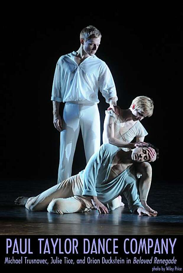 """Michael Trusnovec, Julie Tice and Orion Duckstein in """"Beloved Renegade,"""" Paul Taylor Dance Company. Photo: Wiley Price"""