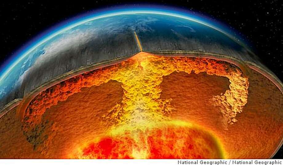 Computer-generated imagery depicting the perpetual convection of hot plumes of rock from the earth's core to its crust. Photo: National Geographic