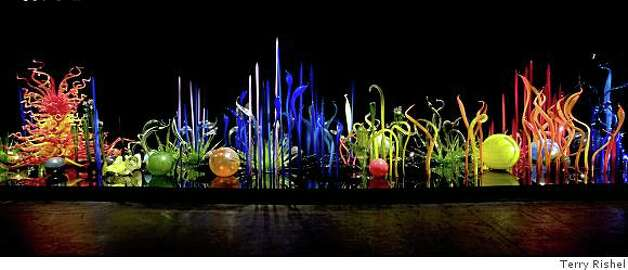 """Mille Fiori"" (TK) blown glass installation by Dale Chihulydig original Photo: Terry Rishel, Fine Arts Museums Of San Francis"