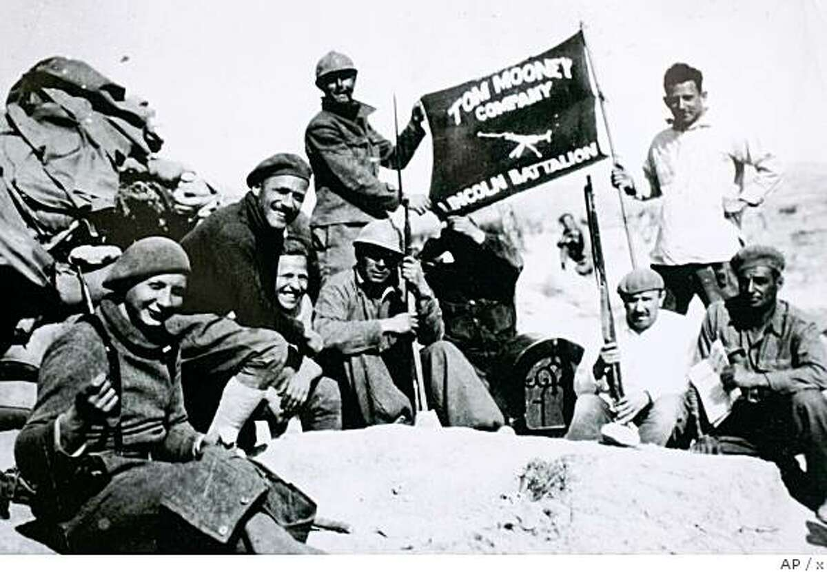 ** APN ADVANCE FOR SUNDAY, APRIL 27 ** In this 1937 photo provided by Spanish Civil War veteran Dave Smith, upper right, shows members of the Lincoln Brigade in Jarama, Spain. Although the Spanish Civil War has been enshrined in literature and art by the likes of Ernest Hemingway and Pablo Picasso, Americans who risked their lives for the values at stake were never recognized in their home country. (AP Photo/Courtesy of Dave Smith)