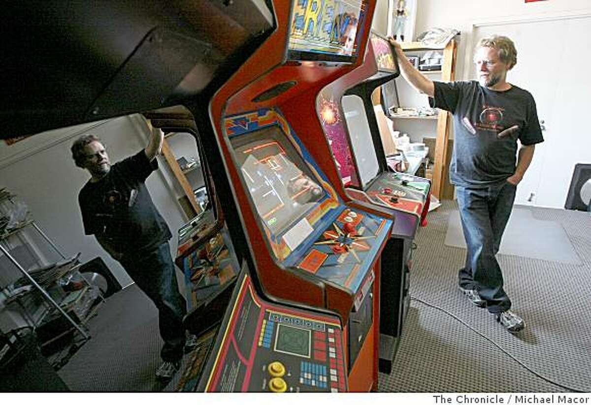 Dale Luck, with a collection of arcade games from the late 1970's through the early 1980's, Gravitar, Frenzy and Blasteroids, in Campbell, Calif. on July 11, 2008. Photo By Michael Macor/ The Chronicle