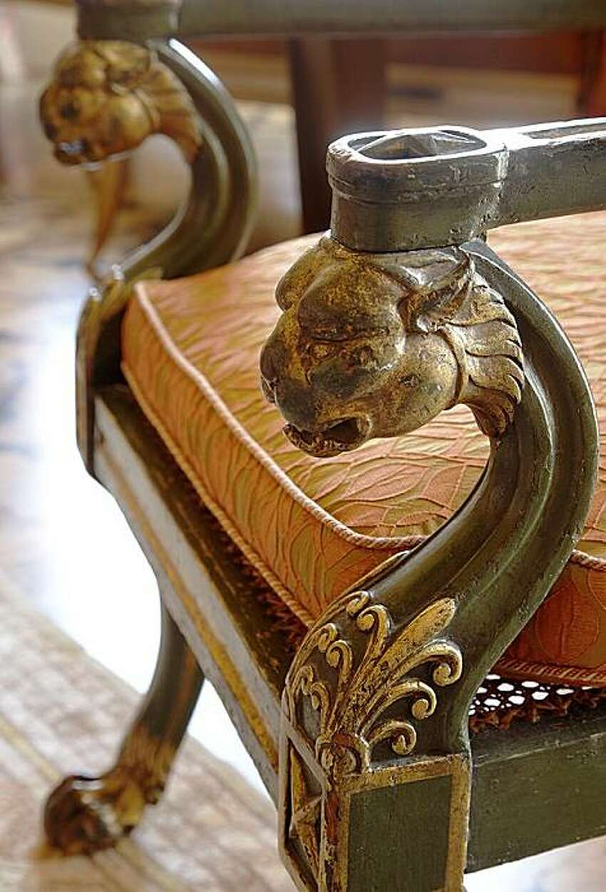 One of Jay Jeffers' favorite things: Klismos chair: Have you ever had a piece of furniture or art that you can't stop thinking about? For me, it's this Klismos chair. Every time I see this early 1800's chair - with its glorious lion's head support and wonderful crusty gilt details - I melt just a little bit. I bought it for a client, so I'm happy to be able to visit it every so often.
