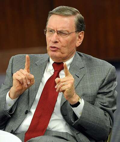 Bud Selig, baseball commissioner, answers a question at a press conference at Notre Dame Tuesday Feb. 12, 2008 in South Bend, Ind. Photo: Joe Raymond, AP