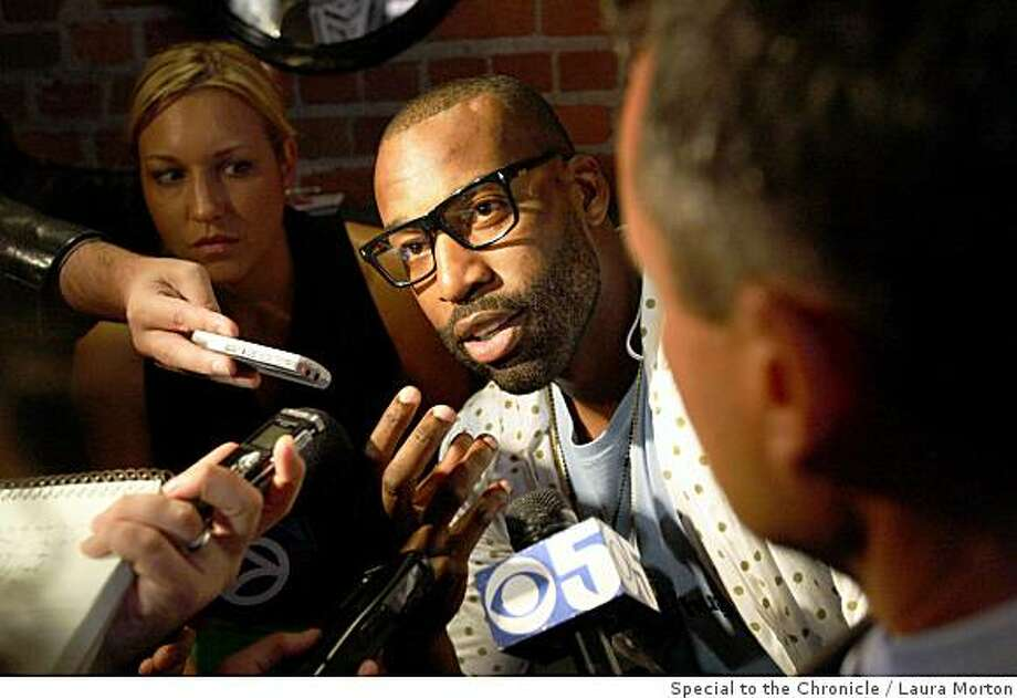"Baron Davis speaks to media before a showing of ""Made in America,"" a documentary film Davis worked on in San Francisco, Calif., on Tuesday, July 01, 2008. Davis, who opting out of the final year of his contract with the Golden State Warriors, has according to league sources agreed in principle with the Clippers on a five-year contract. Photo: Laura Morton, Special To The Chronicle"
