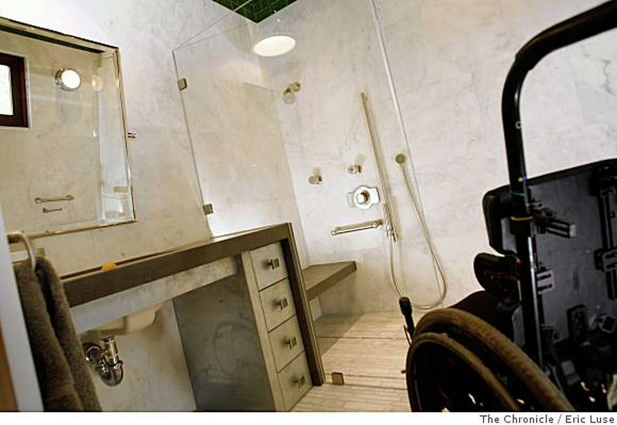 Architect Randy Grange and his wife, designer Leslie Lamarre designed wheelchair access for Michael and Lisa Rubenstein's son's bathroom photographed on Friday, June 13, 2008. Photo by Eric Luse/ The Chronicle