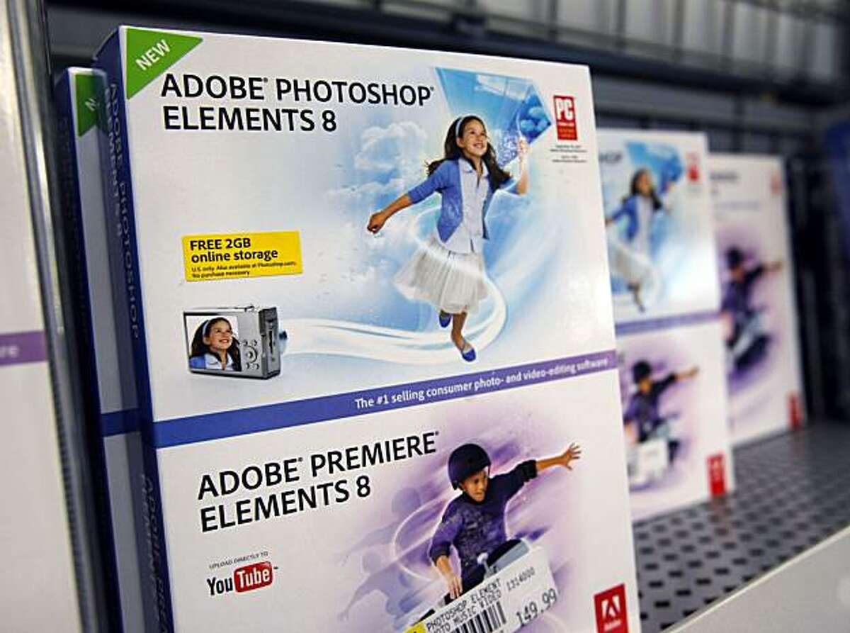 Adobe Photoshop Elements 8 is seen on display at Best Buy in Mountain, Calif., Tuesday, Dec. 15, 2009. Adobe is set to report fiscal fourth-quarter earnings Tuesday. (AP Photo/Paul Sakuma)