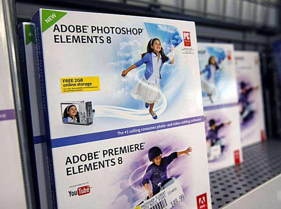 Adobe Photoshop Elements 8 is seen on display at Best Buy in Mountain, Calif., Tuesday, Dec. 15, 2009. Adobe is set to report fiscal fourth-quarter earnings Tuesday. (AP Photo/Paul Sakuma) Photo: Paul Sakuma, AP