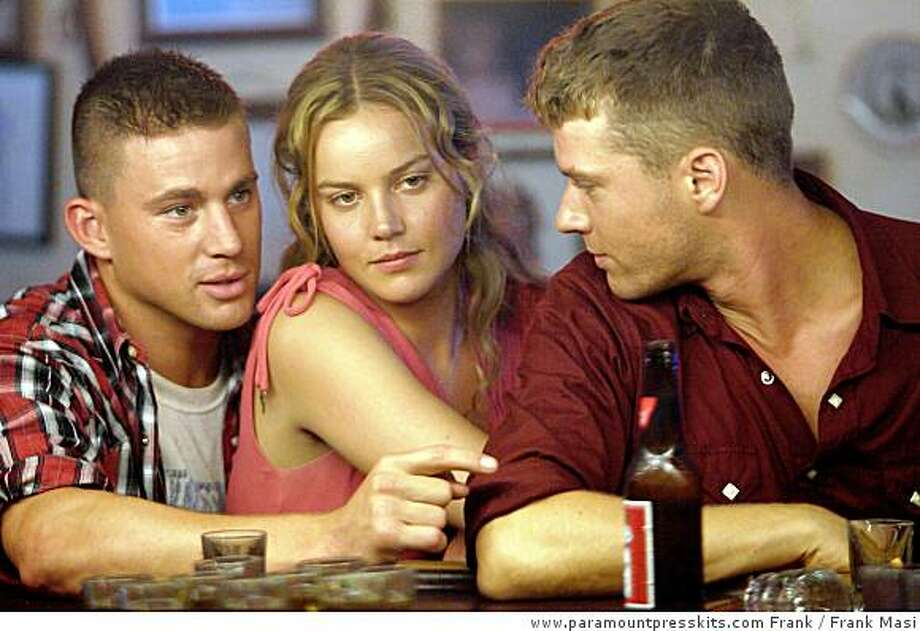 (Left to right) Steve Shriver (Channing Tatum) is out on the town with his fianc� Michele (Abbie Cornish) and close friend Brandon King (Ryan Phillippe) in �Stop-Loss.�Photo Credit: Frank Masi Photo: Frank Masi, Www.paramountpresskits.com Frank