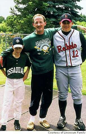 1995 1996 - L to R  Tim Lincecum  age 11   father Charles  48  and    Tim Lincecum Dad