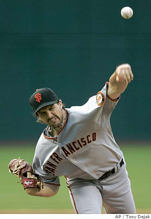 San Francisco Giants' Barry Zito pitches to the Cleveland Indians in the first inning of a baseball game, Wednesday, June 25, 2008, in Cleveland. (AP Photo/Tony Dejak) Photo: Tony Dejak, AP