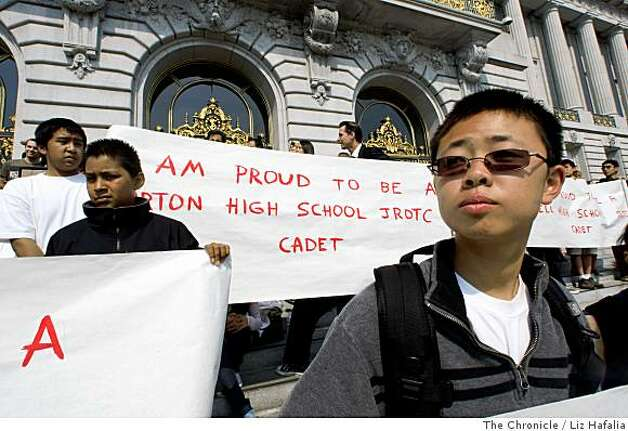 Tony Chen (right), 15 years old, and a JROTC Balboa High School junior in front of city hall in San Francisco, Calif., supporting JROTC.  Supporters of the high school JROTC program collected over 13,000 signatures where they are going to city hall  to create a measure keeping the program in high schools on Monday, July 7, 2008. Photo by Liz Hafalia/The Chronicle Photo: Liz Hafalia, The Chronicle