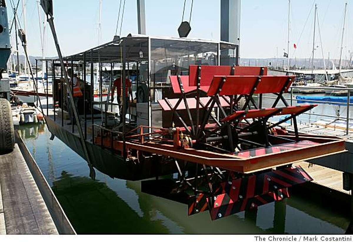A steamboat built by the Kinetic Steamworks collective, that will be soon shipped to New York is test launched in Alameda, Calif., on Wednesday, July 2, 2008. Photo by Mark Costantini / The Chronicle.