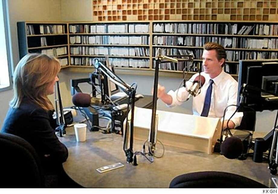 Mayor Gavin Newsom interviews Arianna Huffington on his radio show at KKGN (June 2008) Photo: KKGN
