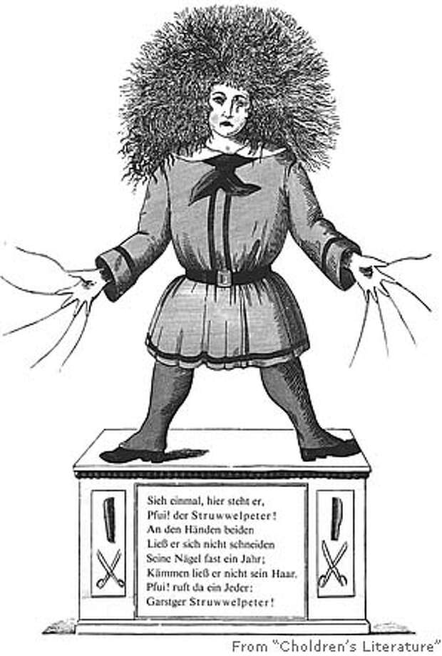 "Struwwelpeter, ""Slovenly Peter"" or ""Shock-headed Peter"" in English, from Heinrich Hoffmann's ""Lustige Geschichten und drollige Bilder"" (1845), where he first appeared. He's part of the ""bad behavior"" tradition in children's literature."