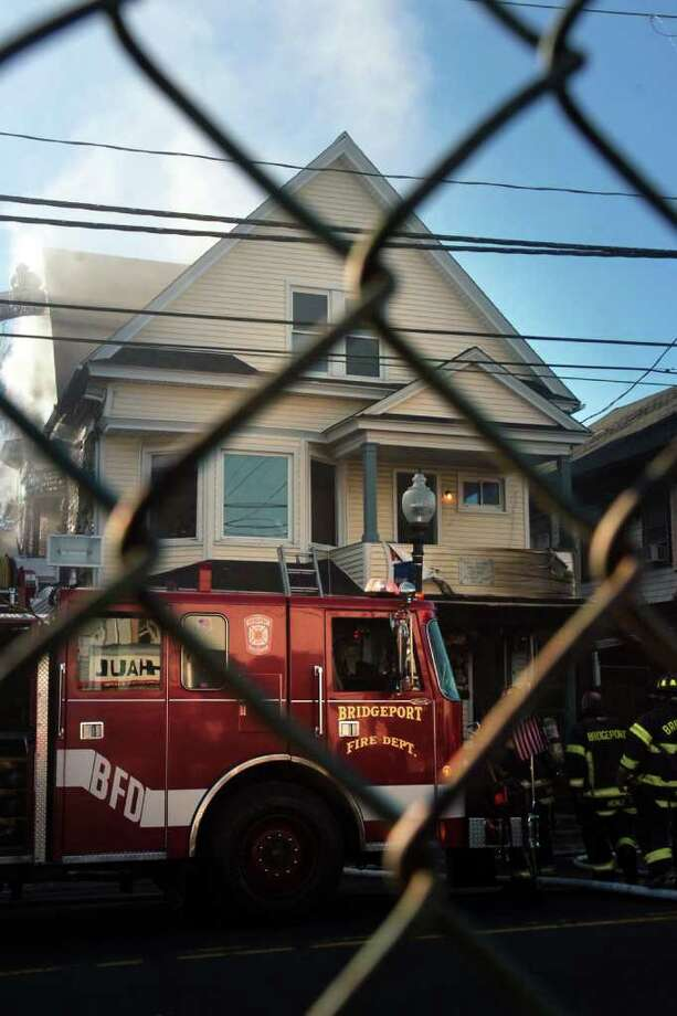 The scene of a house fire at 1647 East Main St. in Bridgeport, Conn. Feb. 9th, 2012. Photo: Ned Gerard