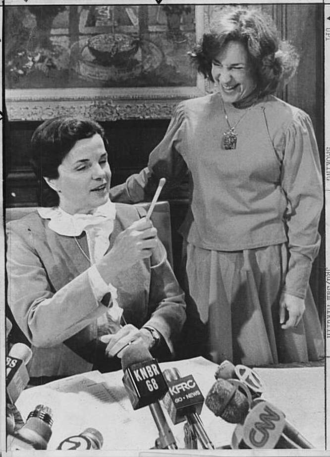 wayback01.jpg  Mayor Dianne Feinstein with the pen she used to sign San Francisco's anti-smoking regulations into law in 1983; with her is Supervisor Wendy Nelder. Photo: UPI