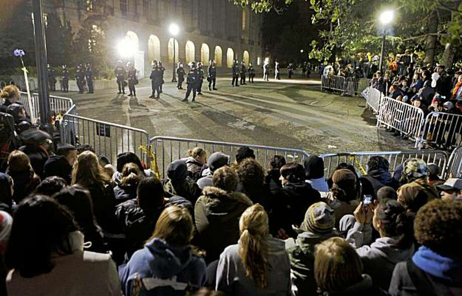 Hundreds of UC Berkeley students wait outside Wheeler Hall on campus for authorities to release protesting students that occupied the hall a day after UC Regents voted to raise tuition by 32 percent. Friday November 20, 2009 Photo: Lance Iversen, The Chronicle