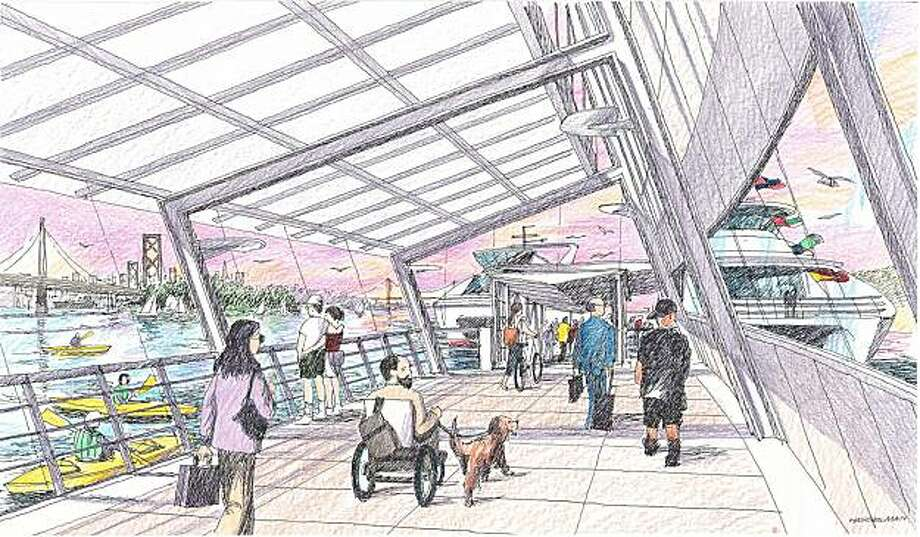 Artists' rendering of the planned ferry terminal for the Berkeley marina Photo: Tai-Ran Tseng, Water Emergency Trans Authority