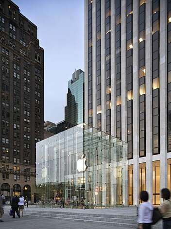 The Apple Store on Fifth Avenue in New York across from Central Park is one of the buildings that brought architect Peter Bohlin a Gold Medal from the American Institute of Architects Photo: Peter Aaron/ESTO, Bohlin Cywinski Jackson