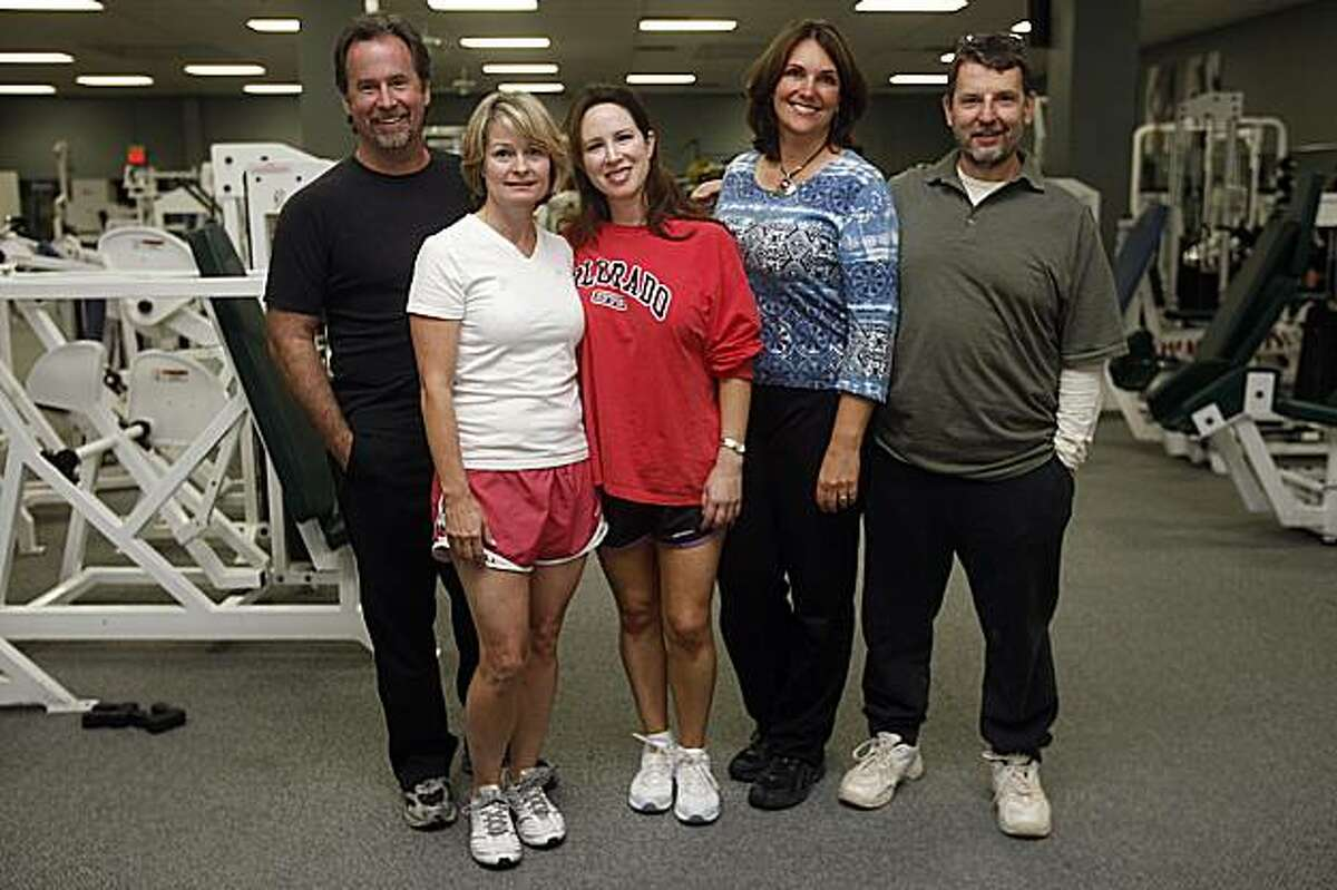 Left to right--David Ferrari, Gaylene Parker, Cecilia Marosi-Hopkins, Mia Gates, and Mike Mainiero enlisted to embark on a 6-week diet and fitness program, complete with weekly weigh-ins, as they have a first meeting at Fitness 101 gym in Menlo Park, Calif., on Thursday, October 1, 2009.