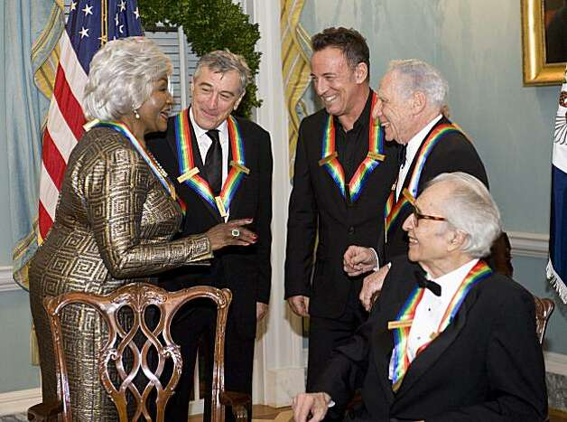 The 2009 Kennedy Center honorees, from left, Grace Bumbry, Robert De Niro, Bruce Springsteen, Mel Brooks and Dave Brubeck share a laugh at the State Department following the Kennedy Center Honors Gala Dinner on Saturday in Washington. Photo: Kevin Wolf, AP